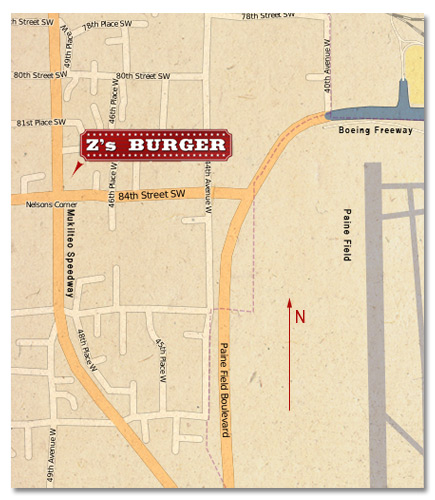 map of z's burger in mukilteo
